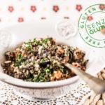 Quinoa multicolor con carote arrosto e nocciole
