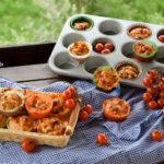 Muffin mediterranei con provola e pomodorini