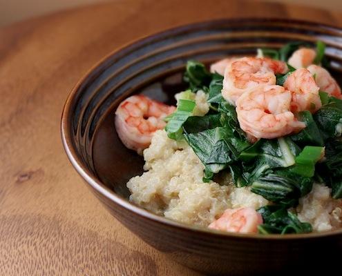 Gamberetti, Quinoa e bietole