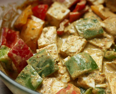 Tofu & Bell Peppers in Yogurt marinate