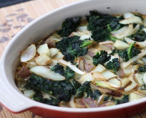 Frittata di cavolo, patate e cipolla