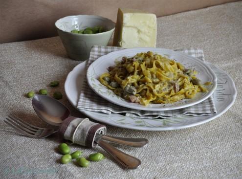 tagliatelle, fave, pecorino, pancetta, lacaccavella
