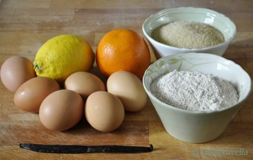 uova, farina, zucchero, agrumi, lacaccavella